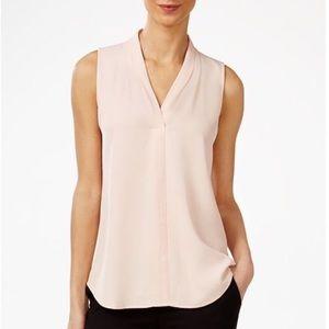 Calvin Klein Blush Pink Pleated V-Neck Shell